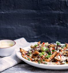 """loaded sweet potato ( + root vegetable) fries with shiitake """"bacon"""" + garlic tahini   What's Cooking Good Looking"""