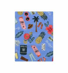 Bon Voyage (Periwinkle) Screen Printed Cotton Fabric
