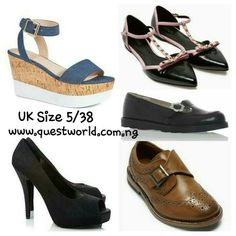 UK Size 5 Euro size 38 Shoes.  http://www.questworld.com.ng/category/Size-UK-538 Pay on delivery within Lagos. Nationwide delivery
