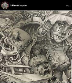 Angel Devil Tattoo, Angel And Devil, Prison Drawings, Chicano Art Tattoos, Tattoo Art, Drawing Sketches, Art Drawings, Aztec Drawing, Cholo Art
