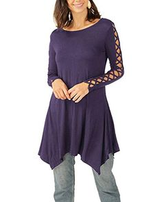 1d6ee68c1120 BBYES Womens Crewneck Lace Up Long Sleeve Criss Cross Tops Shirts  Aymmetrical Hem Tunic Tops Purple