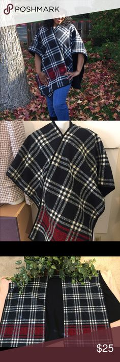 """Ike Behar Plaid Poncho Wrap - NWOT This is a beautiful Plaid poncho just in time for the autumn weather. Made from 100% polyester, very thick and heavy, and assimilates with any fashion sense.   It is a one size item with the following measurements while lying flat:  Length from top to bottom: 34""""  Width completely across: 43""""   The poncho is black, white and red plaid. It's very thick and very warm.  New without tags.  This item ships immediately to US addresses.  Ike Behar Sweaters Shrugs…"""