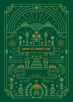 Dribbble - Yiwen_Lu-St_Patricks_Day-2015-01.png by Yiwen Lu Line Illustration, Graphic Design Illustration, Line Design, Icon Design, Art Design, Calendar Design, Drawing, Communication Design, Line Art