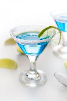Salty Kiss Cocktail - 2 1/2 oz Blue Chair Bay White Rum, 3/4 oz Blue Curaçao, 1 teaspoon lime juice, margarita salt. lime slices