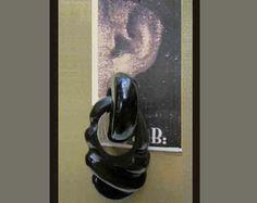 Gerda Lynggaard Monies Early Spectacular Huge Sculpted Horn Earrings,Denmark--$185.00