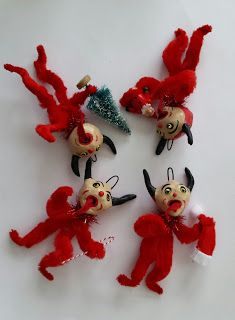I was able to finish these 4 Krampus. They are in vintage style and are inspired by vintage post cards. Diy Christmas Ornaments, Handmade Christmas, Vintage Christmas, Retro Christmas Decorations, Halloween Decorations, Christmas Past, Christmas Holidays, Jingle All The Way, Holiday Fun