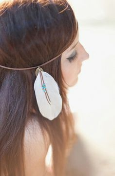 Bohemian feather-adorned headband