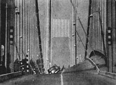 Tacoma Narrows Bridge during Final Collapse • 7 November 1940