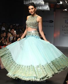 Karishma Kapoor in beautiful pastel with mirror work http://ArpitaMehta.in/ #Lehemga and Choli