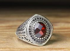 925 K Sterling Silver Man Ring Red Quartz 11 US Size B20-65722 #istanbul #Cluster