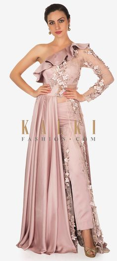 Soft Lavender A Line Suit With Ruffle Neckline And Flower Matched With Pants Online - Kalki Fashion Party Wear Indian Dresses, Indian Gowns, Indian Wedding Outfits, Pakistani Dresses, Neckline Designs, Blouse Designs, Bollywood Dress, Lehnga Dress, Stylish Sarees