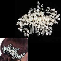 Bridal Wedding Hair Comb Clip Pearls Crystal Bridesmaid Headdress Rhinestone | eBay
