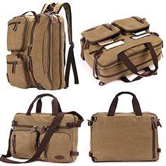 14 inch inch Laptop Bag,Sheng TS Hybrid Multifunction Messenger Bag Convertible Laptop Rucksack BookBag Canvas for Men,Women,College Students (Vintage Khaki Canvas, inch) Laptop Briefcase, Laptop Messenger Bags, Laptop Backpack, Laptop Bags, Satchel Backpack, Leather Backpack, Laptop Shoulder Bag, Mens Sleeve, Waterproof Backpack