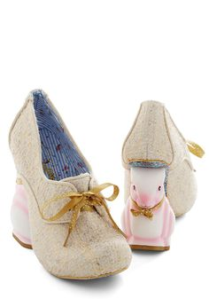 Look Who's Hare Heel in Gold. Dropped jaws and squeals of excitement are the norm when you hop into the room atop the figurine rabbits of these heels  a design from the glam, exclusive Gold Label of Irregular Choice! #gold #modcloth