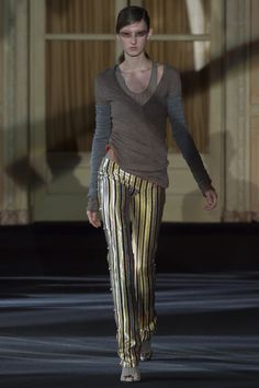 Golden Striped Pants with Grey Sweater by Acne Studios, Look #11