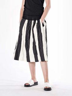 Annette Gortz Stripe A-Line Skirt Flare Skirt, Midi Skirt, Adventure Outfit, Paint Stripes, A Line Skirts, Seasons, Black And White, Cotton, Blue