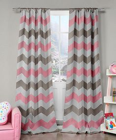 Look at this Gray & Pink Chevron Blackout Curtain Panel - Set of Two on #zulily today!