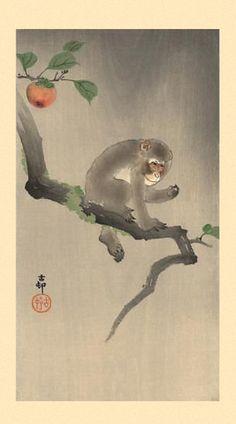Ohara Koson - Monkey on the Tree