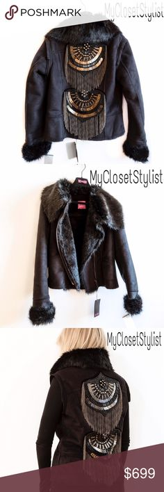 NWT$$$ Beaded Shearling Jacket Coat Fur Vest!S/M STUNNING FAUX SHEARLING SHEEPSKIN JACKET- RUNWAY BEADED+SEQUINED DETAILS! NWT. A breathtaking coat you will not see anywhere. Brand New with Tags! This Gorgeous jacket is perfection in every detail. Heavily Embellished with beading, sequins, chains, Swarovski crystals & gunmetal hardware. Zipper front, full fur within, cuffed silky fur cuffs & large convertible collar. DESIGNED TO PERFECTION BY UK  LONDON  DESIGNER! Convertible Sleeves zip…
