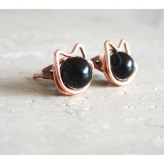 Black Cat Stud Earrings - Copper Wire Wrapped Black Agate ($9) found on Polyvore