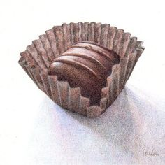 """Chocolate Buttercream"" original colored pencil drawing by Paula Pertile Candy Drawing, Food Drawing, Drawing Faces, Chocolate Drawing, Chocolate Art, Pencil Sketch Drawing, Pencil Drawings, Drawing Tips, Drawing Ideas"
