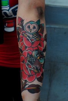 Roses and owls by Adrian-one better days tattoo