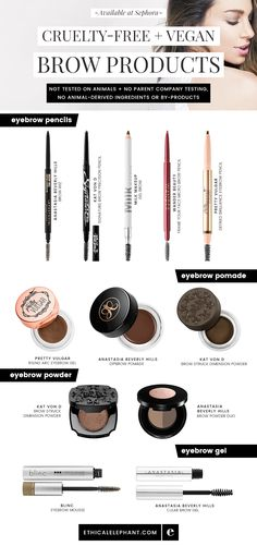 and vegan eyebrow makeup options available at Sephora! Not tested. Cruelty-free and vegan eyebrow makeup options available at Sephora! Not tested. Cruelty-free and vegan eyebrow makeup options available at Sephora! Not tested. Eyebrow Makeup Products, Best Makeup Products, Eye Makeup, Eyebrow Tips, Cruelty Free Eyebrow Products, Makeup Geek, Makeup Kit, Lotion, Aloe Vera