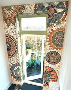 Gaudi mosaics - Spanish Flowers a Unusual Home, Mosaic Mirror Frame, Interior And Exterior, Stained Glass Mosaic, Mural, Glass Mirror, Gaudi Mosaic, Mosaic Tiles, Wall Art Living Room