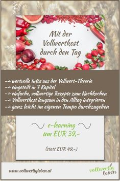 vollwertigleben Landing page Modul E Learning, Food, Whole Food Diet, Not Interested, Theory, Tips, Recipes, Meals, Yemek