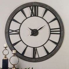 Shop for Uttermost Ronan Wall Clock, Large, and other Accessories at Englishman's Interiors in Dallas, TX. Dark, rustic bronze finish accented with a rust gray frame. Large Metal Wall Clock, Large Clock, Oversized Clocks, Ideas Prácticas, Decor Ideas, Room Ideas, Decorating Ideas, Open Wall, Thing 1