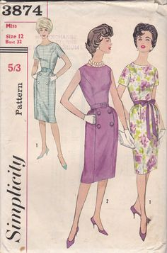 Vintage Simplicity Dress Pattern 3874 1960's Cut by thevintagenote, $5.00