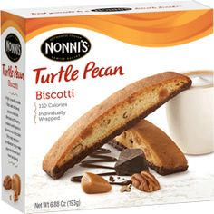 Turtle Pecan Biscotti - Nonnis - A light crunchy cookie filled with the finest pecans available, blended with creamy caramel and dipped in gourmet milk chocolate. This truly indulgent combination helps make your next break much more satisfying.