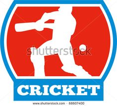 vector illustration of a cricket sports batsman silhouette batting - stock vector Cricket World Cup, Retro Illustration, Royalty Free Images, Silhouette, Sports, Design, Hs Sports, Copyright Free Images, Excercise