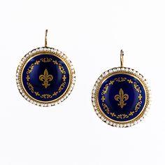 Fleur de Lys Enamel and Seed Pearl Earrings - 20-1-2248 - Lang Antiques