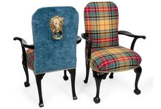"A pair of vintage English Armchairs - custom upholstered in Diamond/Baratta ""New London Plaid"" w/ linen velvet backs, ebony finished woodwork, and brass nailhead trim. Each chair has an imported sand-cast brass knocker imported from London. Scottish Decor, Scottish Plaid, Settee, Wingback Chair, Tartan Decor, Tartan Plaid, English Decor, Wood Arm Chair, Slipcovers"