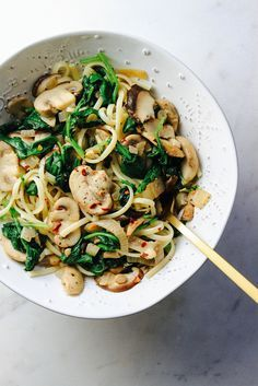 Garlicky Mushroom and Kale With Linguine by The Simple Veganista
