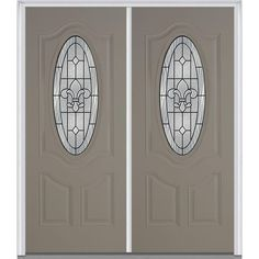 Milliken Millwork 72 in. x 80 in. Carrollton Decorative Glass 3/4 Oval Painted Fiberglass Smooth Double Prehung Front Door,
