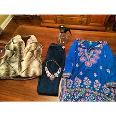 Goodwill thrift haul 11-3-14 // fur vest : jcrew necklace :: HUE jeggins :: Pyrex carafe :: hand embroidered beach cover up // #keepinitthrifty
