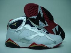Air Jordan 7 Retro Olympics White Metallic Gold Navy Red shoes