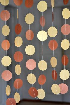 Gold Сopper Paper circle garland Wedding Birthday Decor Baby Shower