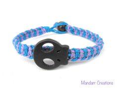 Skull Hemp Bracelet, Lavender and Turquoise Fishbone Hemp Jewelry, Halloween Accessory