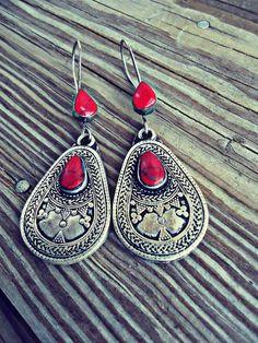 Turkmen Kazakh Tribal Jewelry Earrings in Coral by ZamarutJewel, $59.99
