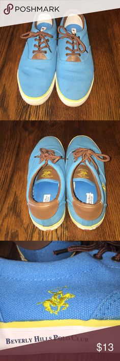 Beverly Hills Polo Club Canvas Tennis Shoes!!!👣 Good condition not much wear!!   Turquoise with yellow trimming & brown laces. Polo by Ralph Lauren Shoes Sneakers