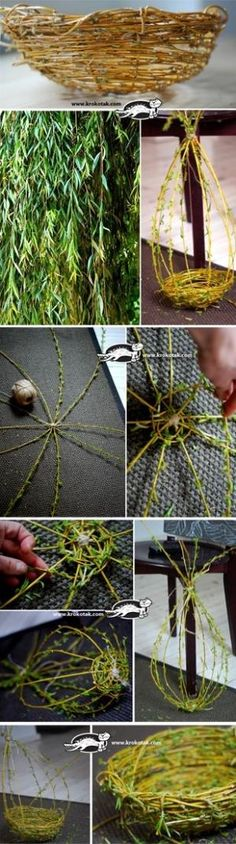 How to Weave a Willow Basket. Looks really easy, and it becomes a real, useable basket when it dries. How neat!: How to Weave a Willow Basket. Looks really easy, and it becomes a real, useable basket when it dries. How neat! Deco Floral, Arte Floral, Floral Design, Willow Weaving, Basket Weaving, Diy And Crafts, Arts And Crafts, Handmade Crafts, Handmade Rugs