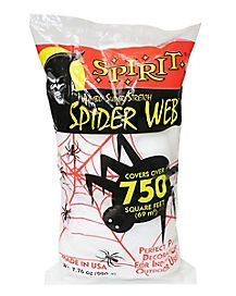 Cobwebs are creepy! Cover your home indoors and out with over 750 square feet of super stretchy white spider web - that's spooky! Scare up some Halloween fun when you decorate with this crazy big spider web. Spirit Halloween, Happy Halloween, Spider Web Decoration, Big Spiders, Spider Queen, Creepy Vintage, Halloween Accessories, Outdoor Halloween