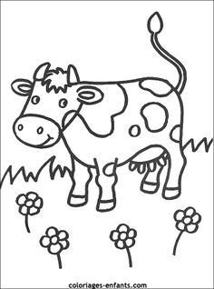 Kleurplaat: koe Farm Animal Coloring Pages, Fruit Coloring Pages, Colouring Pages, Coloring Sheets, Adult Coloring, Coloring Books, Cow Craft, Animal Templates, Simple Cartoon