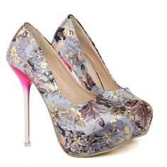 Stylish Floral Print and Stiletto Design Pumps For Women