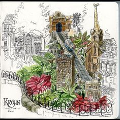Posted by cswyellokat : Final #sketch at #krohnconservatory of the gorgeous holiday display. #moleskine #cincinnati #urbansketch #sketchbook #journal #christmas #holiday