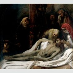 """""""Lamentation"""" by Studio of Rembrandt van Rijn. c1650, oil on canvas. Likely this was painted by Samuel van Hoogstraten, a student of Rembrandt. In the collection of The Ringling Museum, Sarasota, FL."""