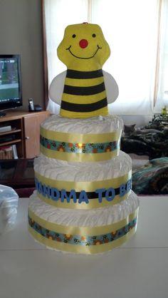 """Grandma to """"Bee"""" Diaper Cake"""